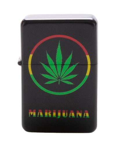 Zapaliczka Metalowa Marijuana Black 52