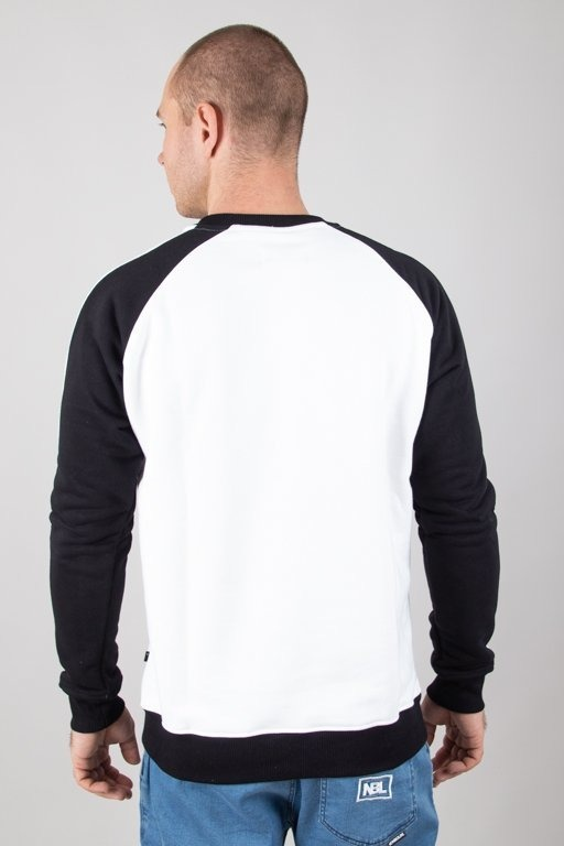 LUCKY DICE CREWNECK LOGO RAGLAN STRIPES WHITE-BLACK