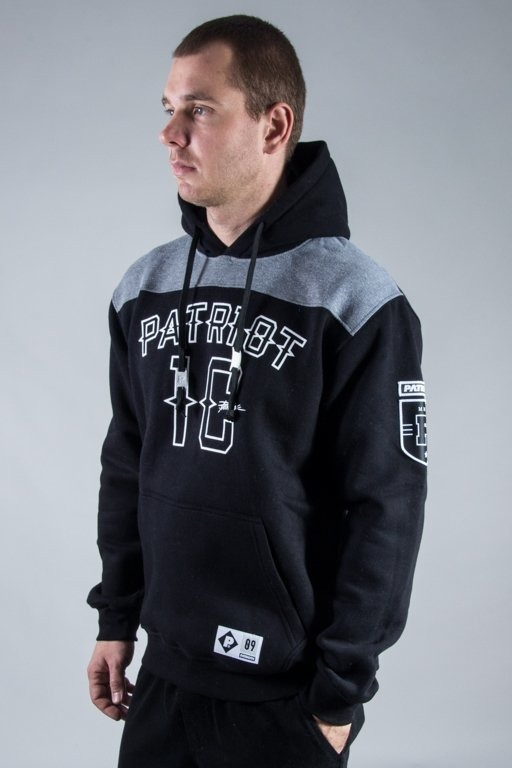 PATRIOTIC HOODIE 10 NECK BLACK-GREY