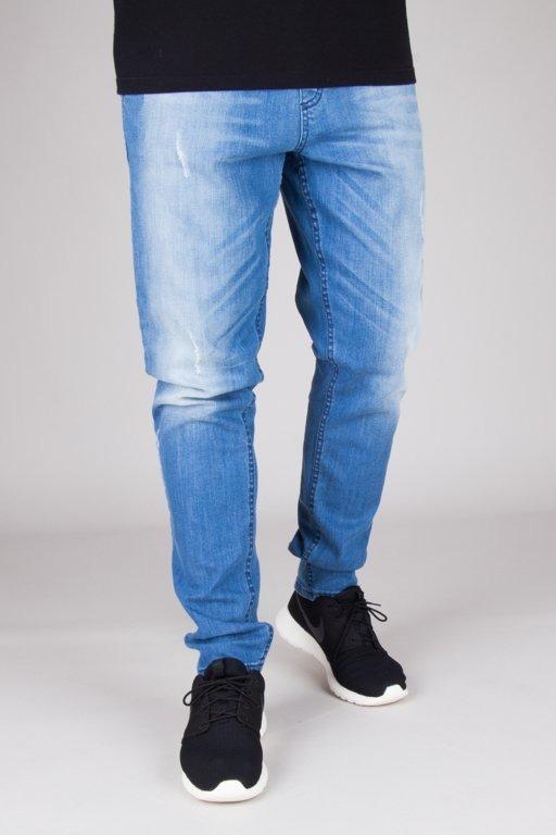 SSG Smoke Story Group Spodnie Jeansy Premium Straight Fit Stretch Guma Light Z Przetarciami