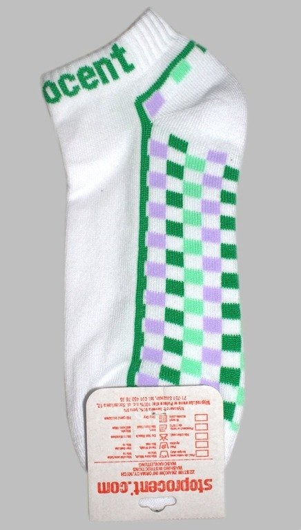 STOPROCENT SKARPETKI CHECKERS WHITE-GREEN