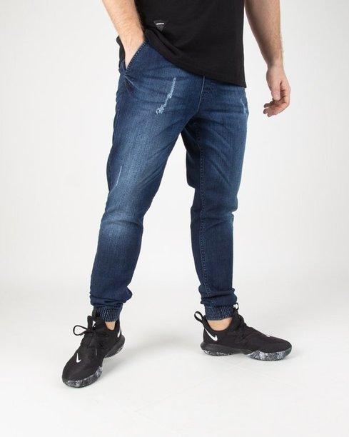 Spodnie SSG Jeansy Jogger Premium Wycierane Z Przetarciami Dark