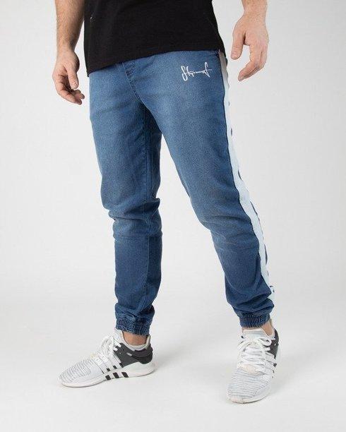 Spodnie Stoprocent Jeansy Jogger Lampas Blue